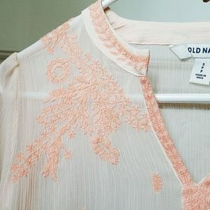 Old Navy Tops - Old Navy Embroidered Sheer Peach Blouse Top